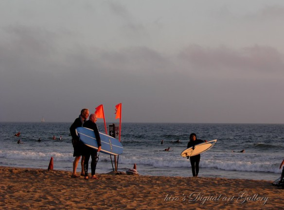 View of Santa Monica Beach _ surfers